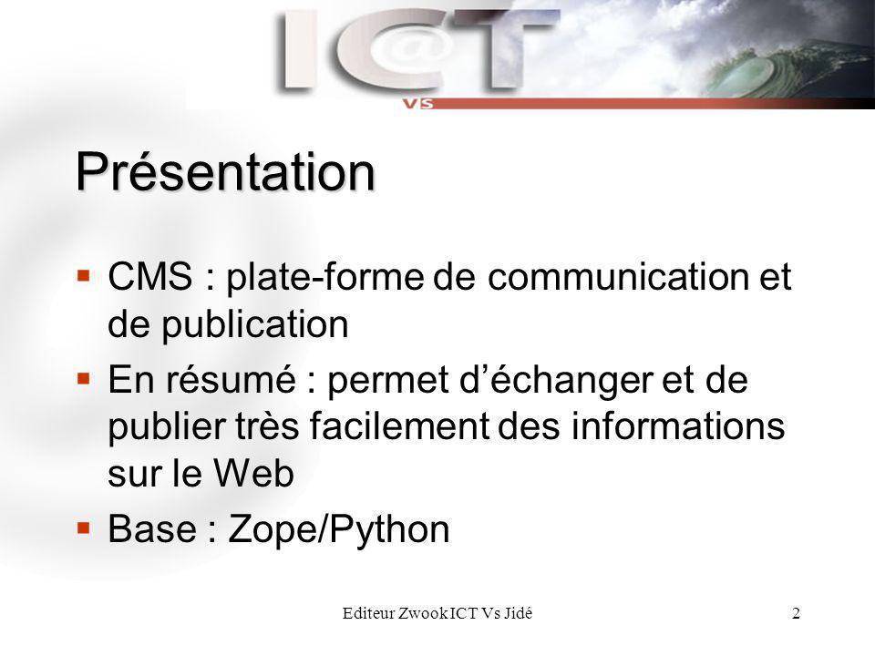 Editeur Zwook ICT Vs Jidé