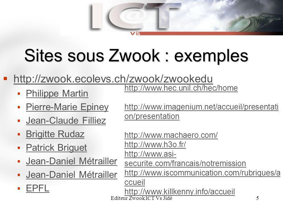 Sites sous Zwook : exemples