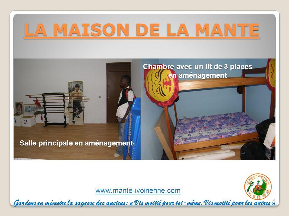 LA MAISON DE LA MANTE Salle principale en aménagement. Chambre avec un lit de 3 places en aménagement.