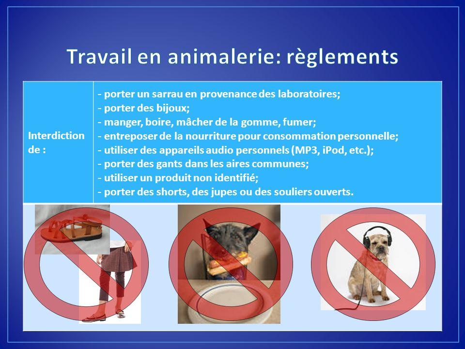 Travail en animalerie: règlements
