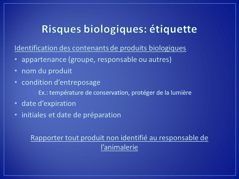 Risques biologiques: étiquette