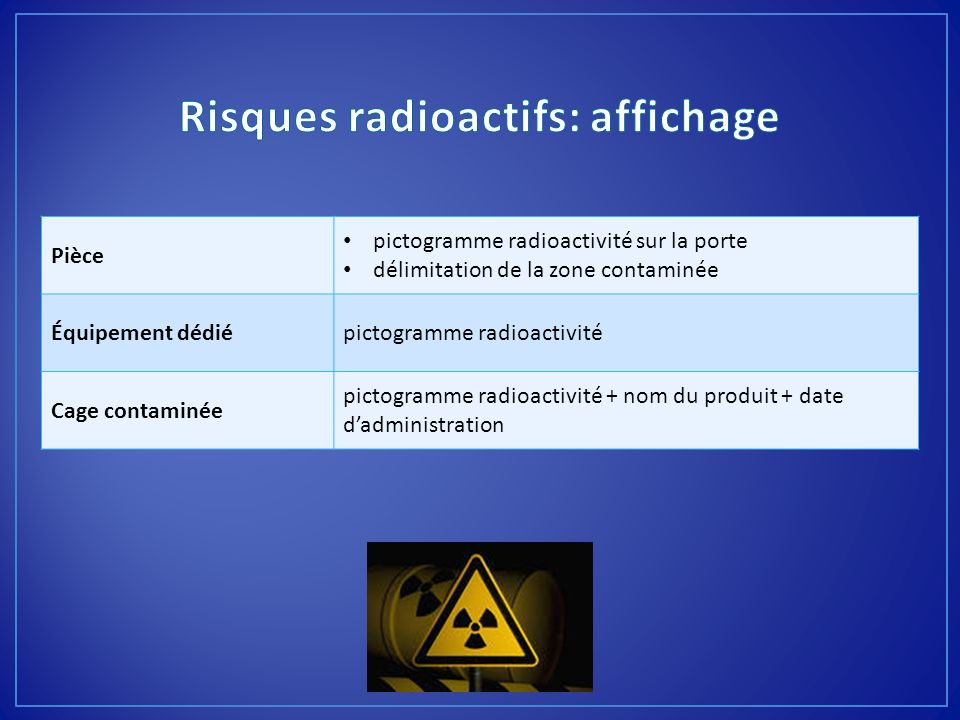 Risques radioactifs: affichage