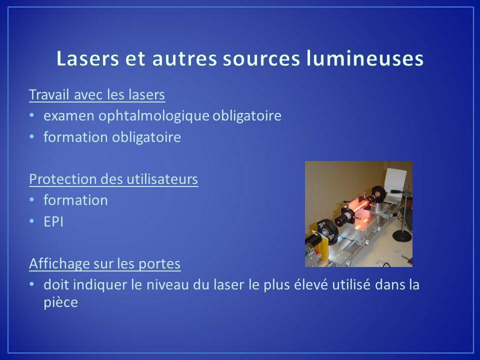 Lasers et autres sources lumineuses