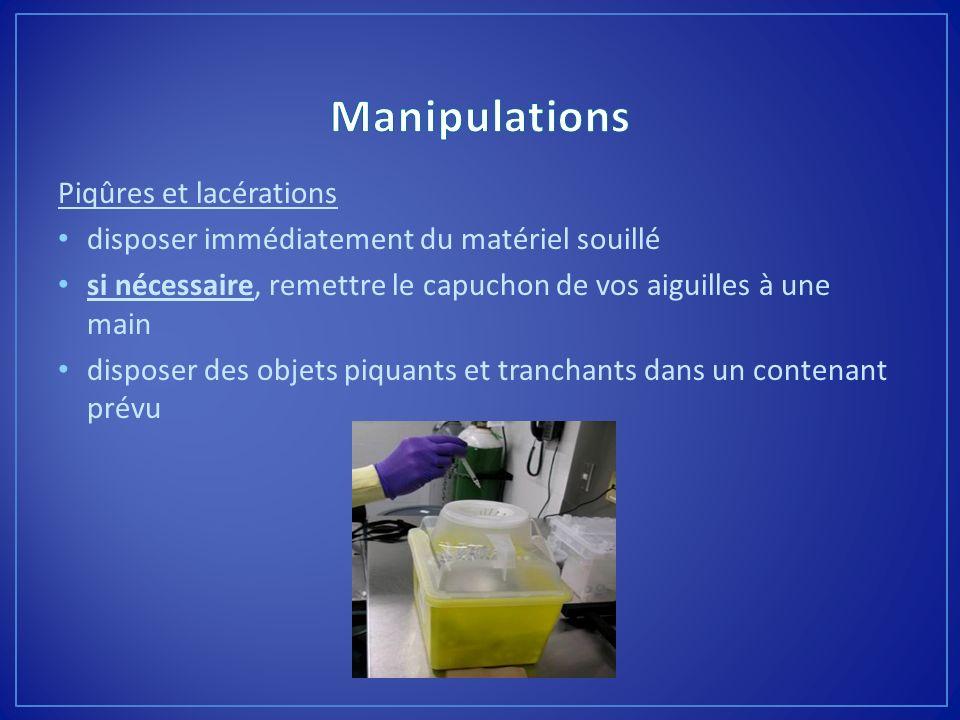 Manipulations Piqûres et lacérations