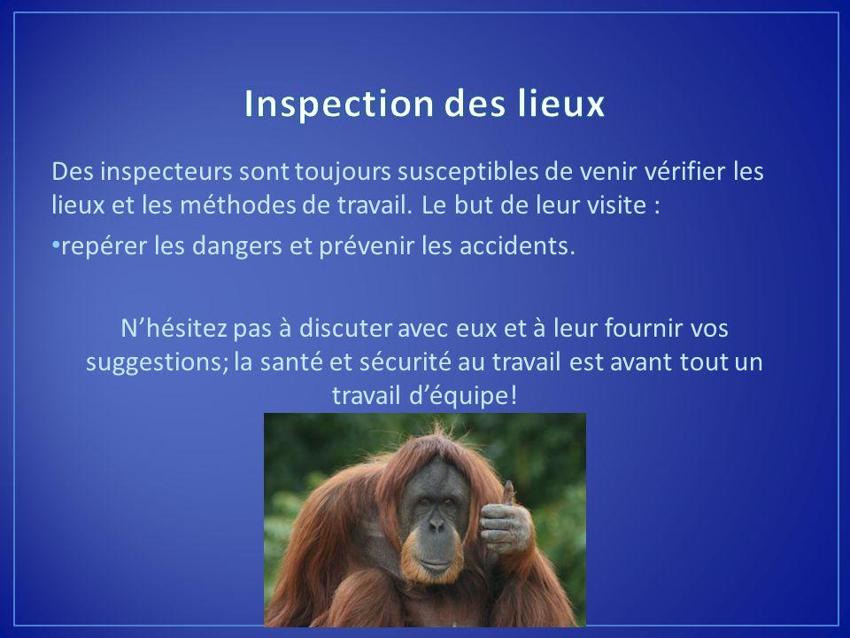 Inspection des lieux Des inspecteurs sont toujours susceptibles de venir vérifier les lieux et les méthodes de travail. Le but de leur visite :