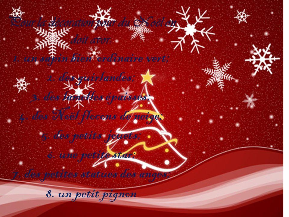 Pour la décoration pour du Noël on doit avor: