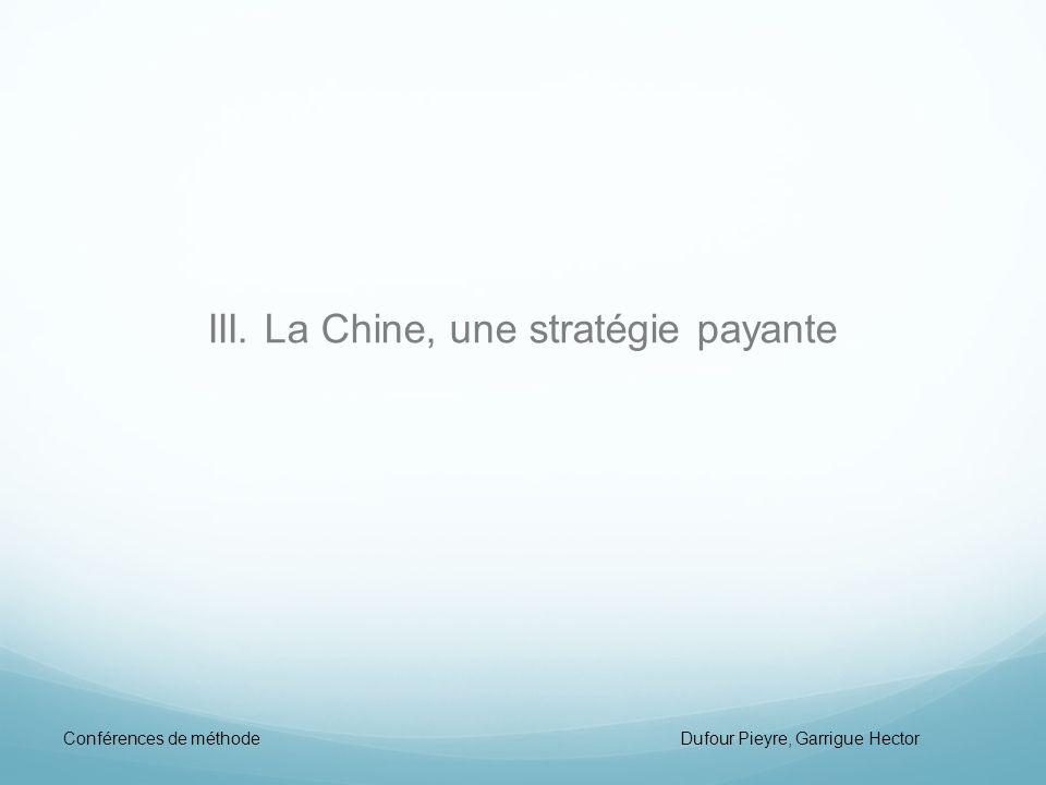 III. La Chine, une stratégie payante