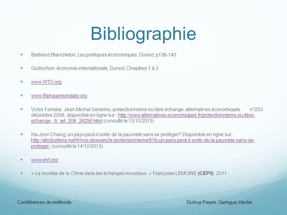 Bibliographie Bertrand Blancheton, Les politiques économiques, Dunod, p136-140. Guillochon, économie internationale, Dunod, Chapitres 1 à 3.
