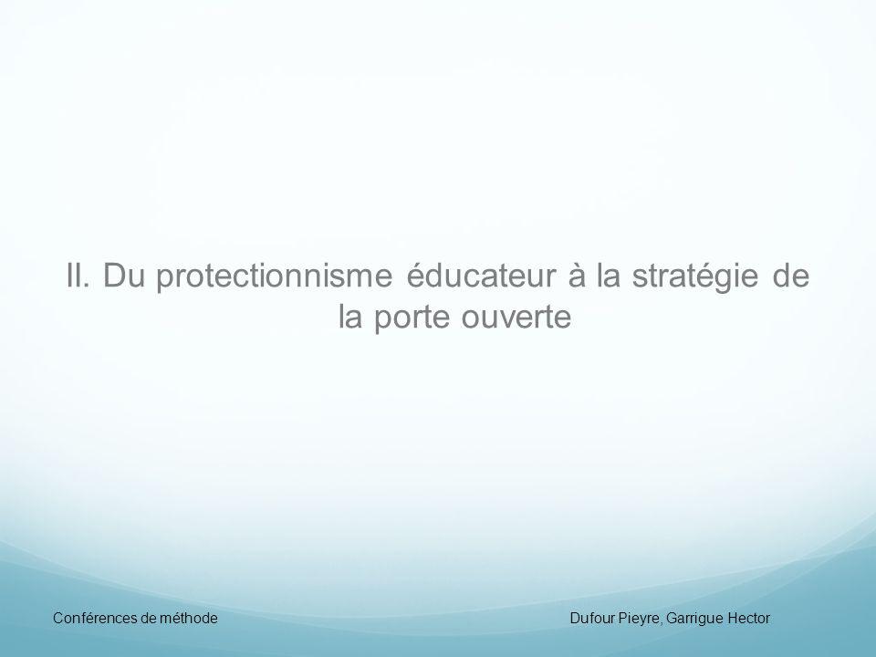II. Du protectionnisme éducateur à la stratégie de la porte ouverte
