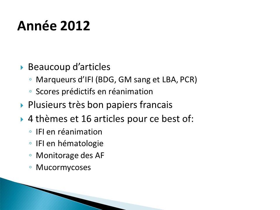 Année 2012 Beaucoup d'articles Plusieurs très bon papiers francais