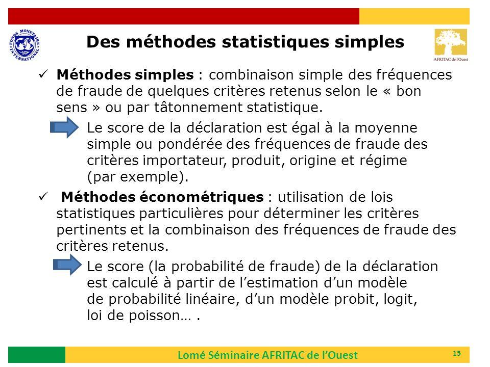 Des méthodes statistiques simples