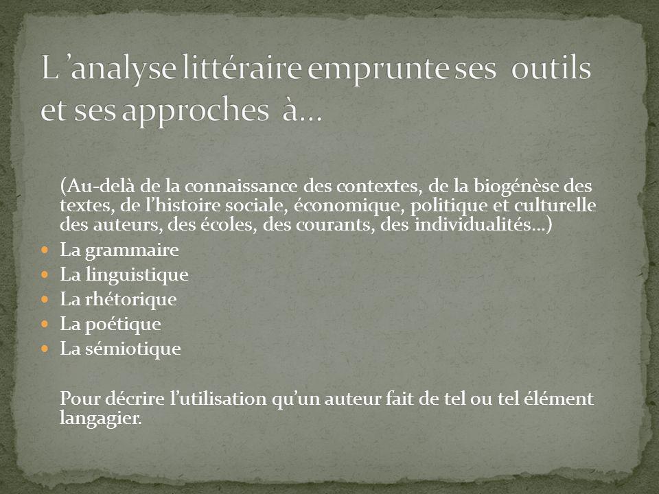 L 'analyse littéraire emprunte ses outils et ses approches à…