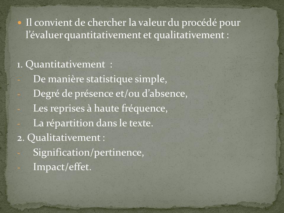 Il convient de chercher la valeur du procédé pour l'évaluer quantitativement et qualitativement :