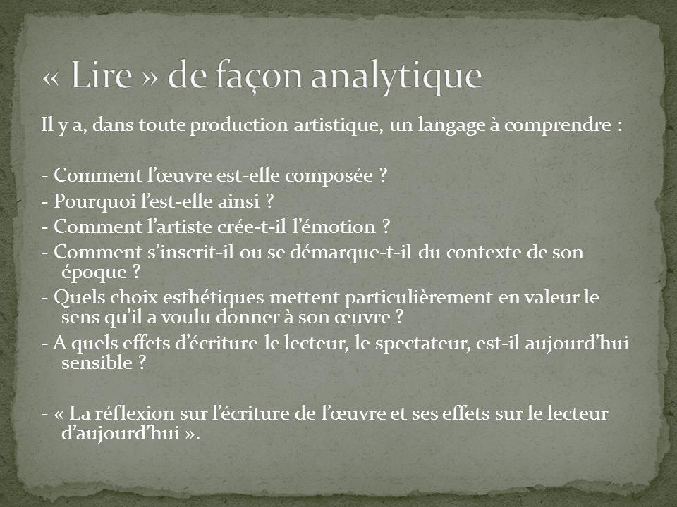 « Lire » de façon analytique