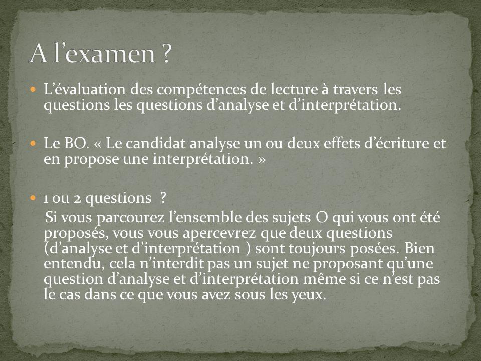 A l'examen L'évaluation des compétences de lecture à travers les questions les questions d'analyse et d'interprétation.