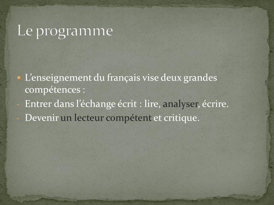Le programme L'enseignement du français vise deux grandes compétences : Entrer dans l'échange écrit : lire, analyser, écrire.