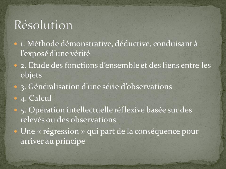 Résolution 1. Méthode démonstrative, déductive, conduisant à l'exposé d'une vérité.