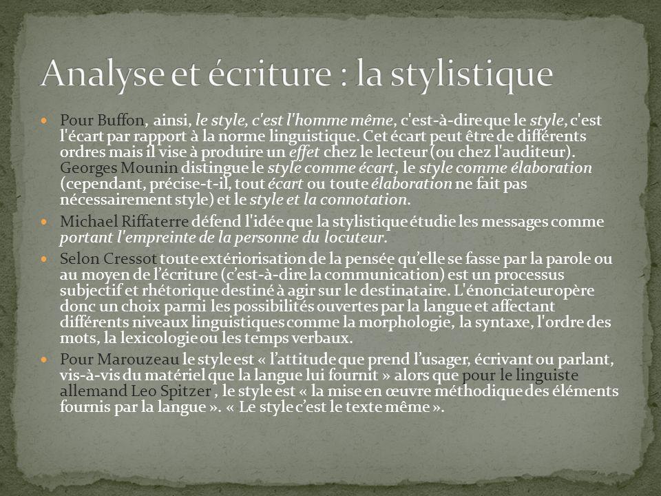 Analyse et écriture : la stylistique