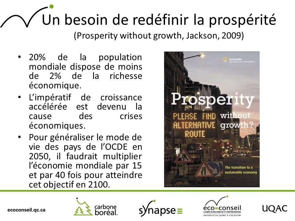 Un besoin de redéfinir la prospérité (Prosperity without growth, Jackson, 2009)