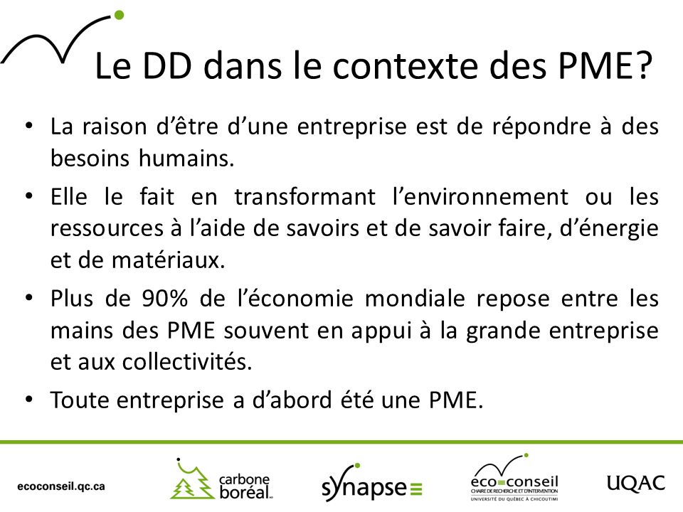 Le DD dans le contexte des PME