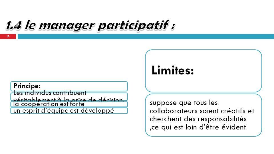 1.4 le manager participatif :