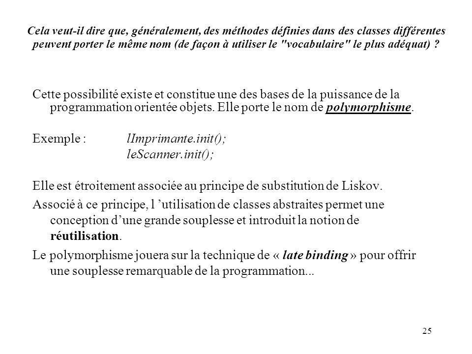 Exemple : lImprimante.init(); leScanner.init();