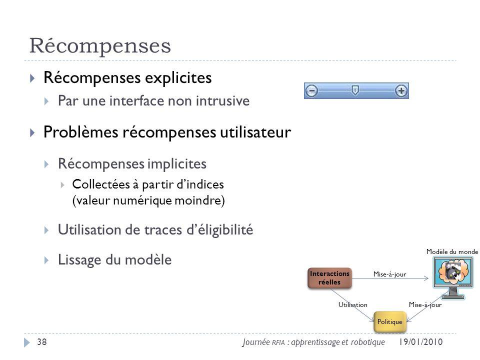 Récompenses Récompenses explicites Problèmes récompenses utilisateur