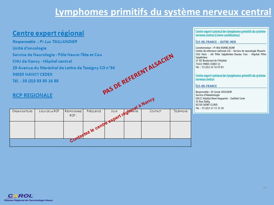 Lymphomes primitifs du système nerveux central