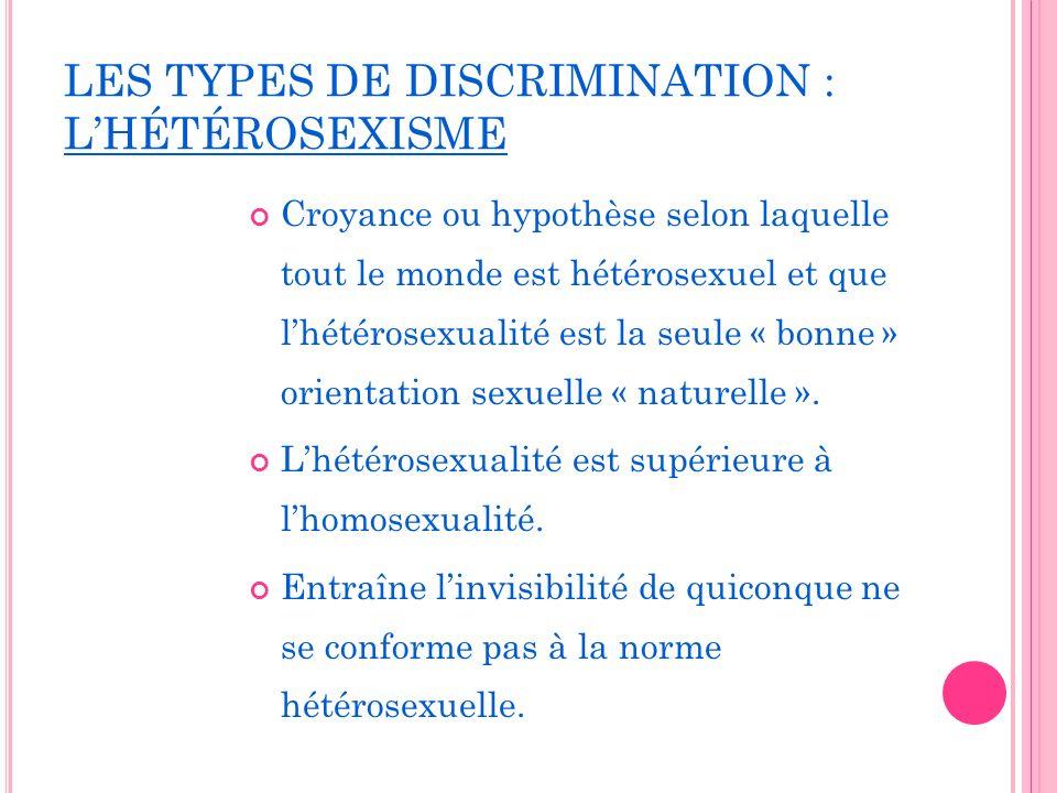LES TYPES DE DISCRIMINATION : L'HÉTÉROSEXISME