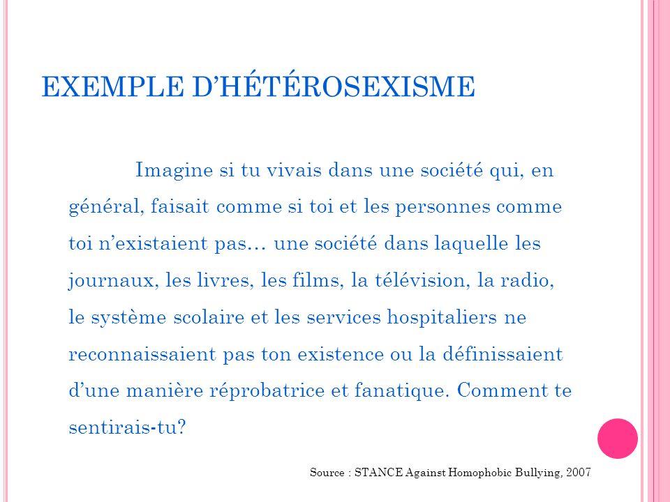 EXEMPLE D'HÉTÉROSEXISME