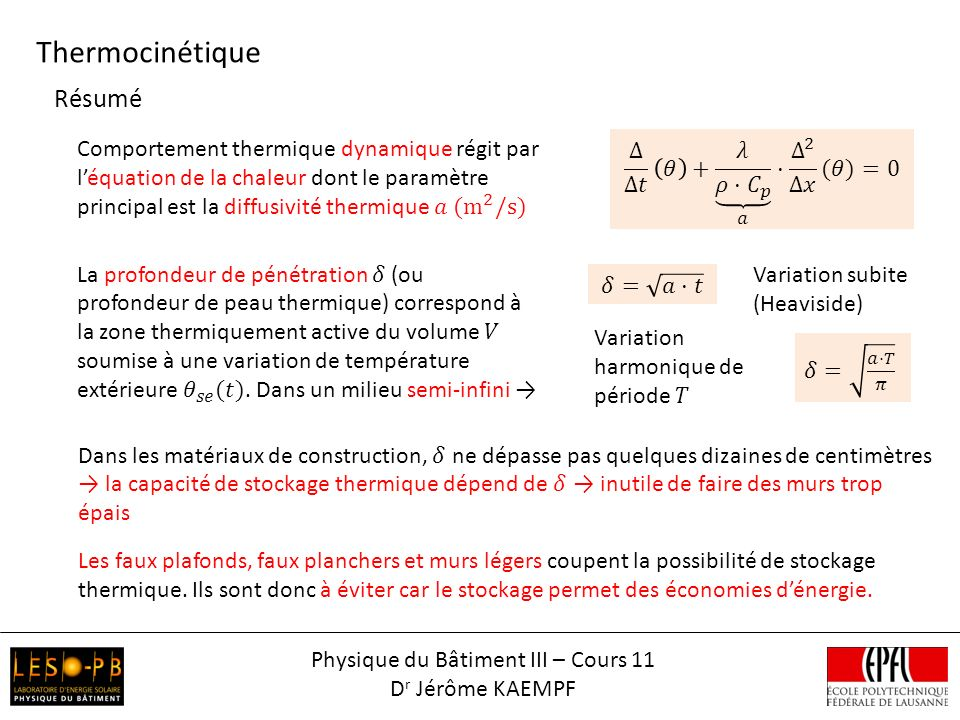 Physique du Bâtiment III – Cours 11