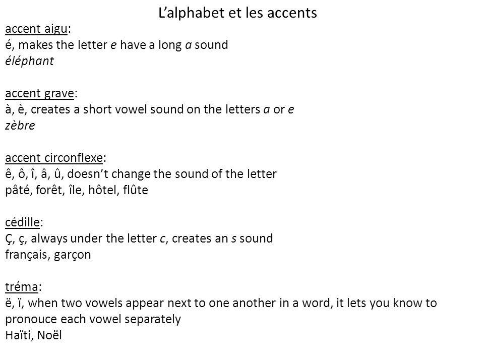 L'alphabet et les accents