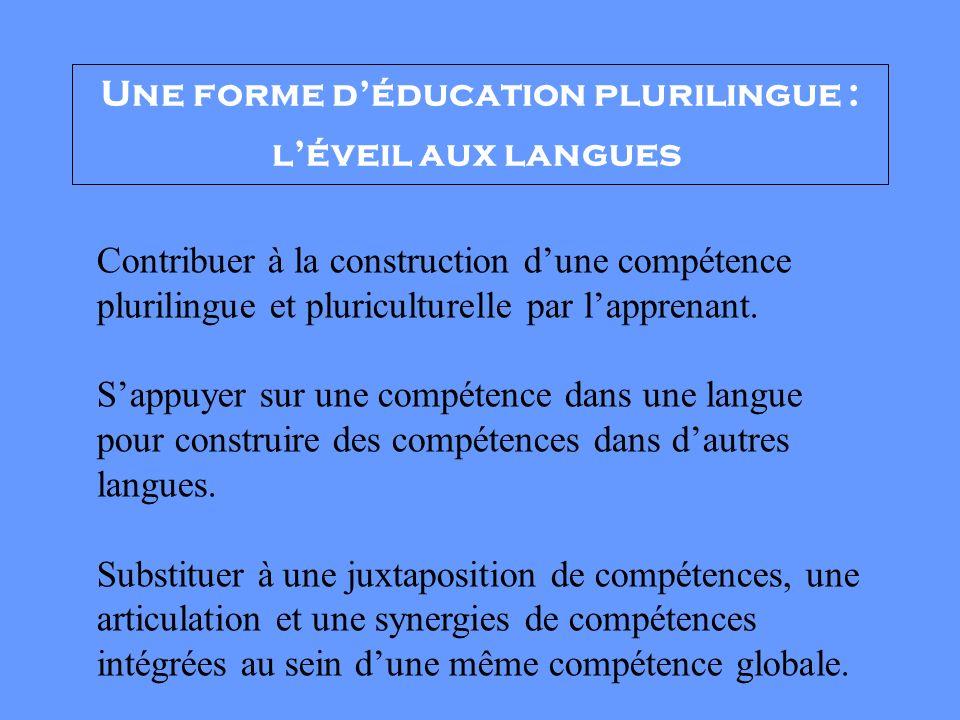 Une forme d'éducation plurilingue : l'éveil aux langues