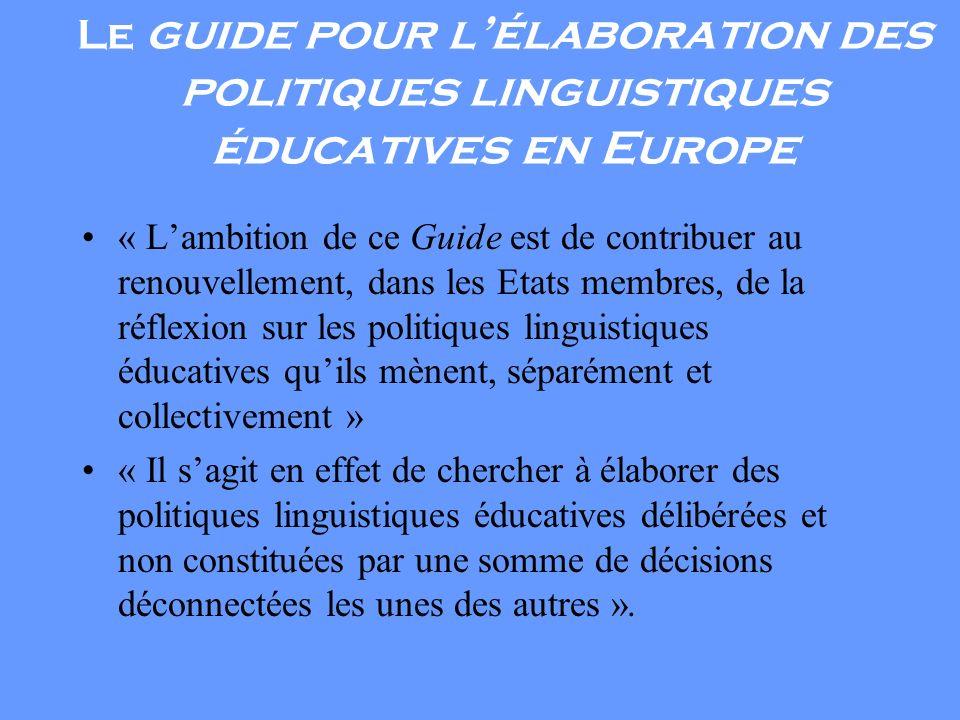 Le guide pour l'élaboration des politiques linguistiques éducatives en Europe