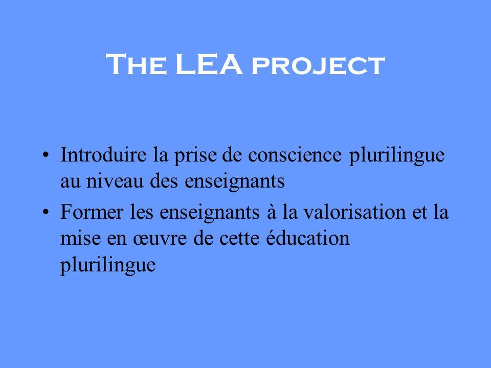 The LEA project Introduire la prise de conscience plurilingue au niveau des enseignants.