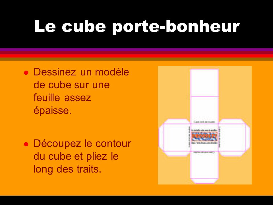 Le cube porte-bonheur Dessinez un modèle de cube sur une feuille assez épaisse.