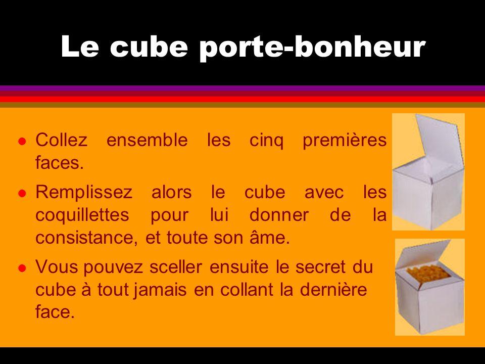 Le cube porte-bonheur Collez ensemble les cinq premières faces.