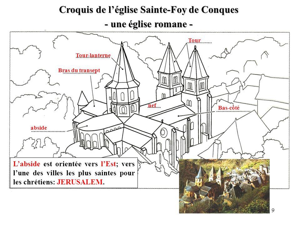 Croquis de l'église Sainte-Foy de Conques