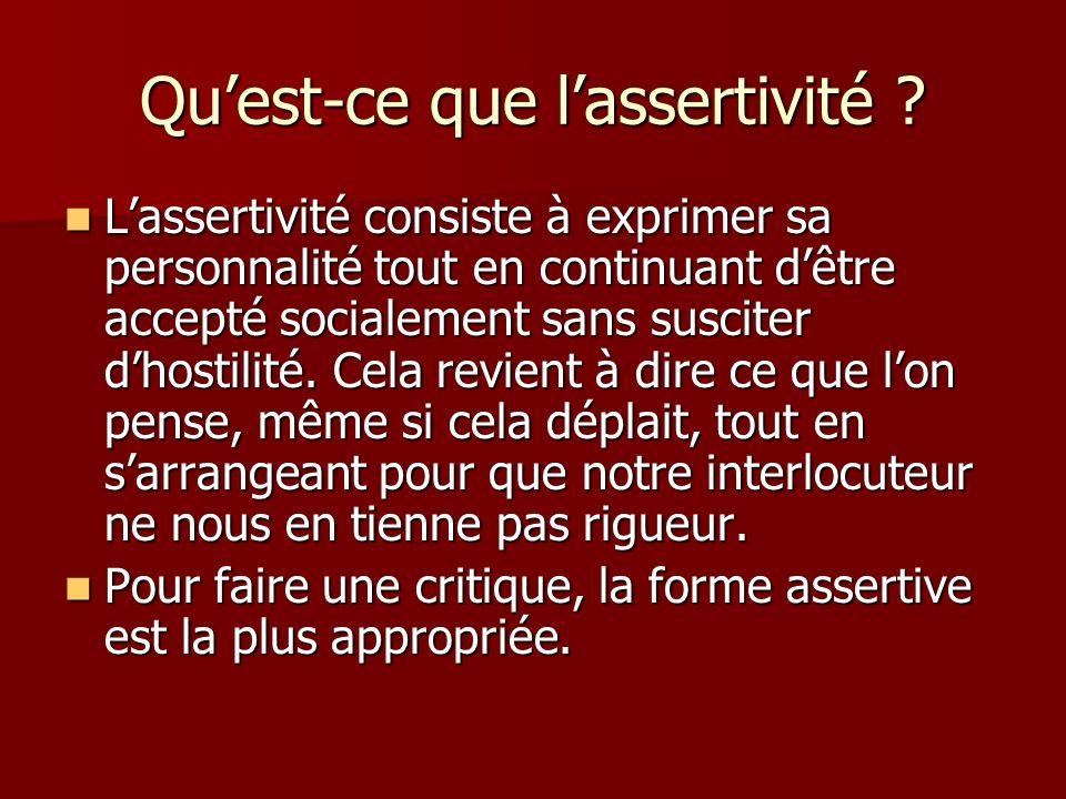 Qu'est-ce que l'assertivité