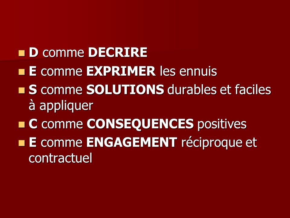 D comme DECRIRE E comme EXPRIMER les ennuis S comme SOLUTIONS durables et faciles à appliquer. C comme CONSEQUENCES positives