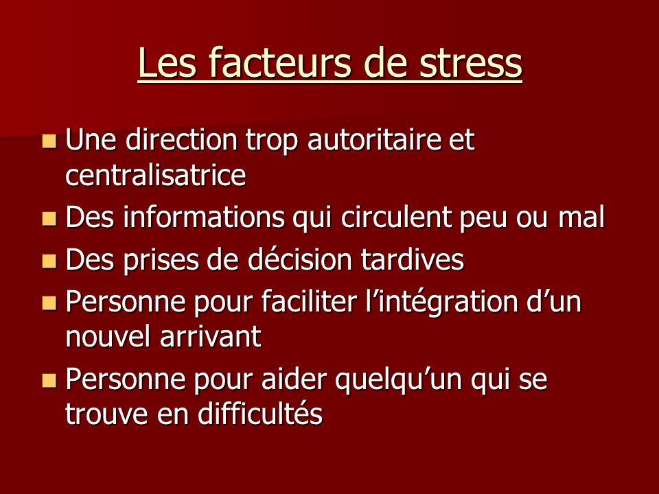 Les facteurs de stress Une direction trop autoritaire et centralisatrice. Des informations qui circulent peu ou mal.