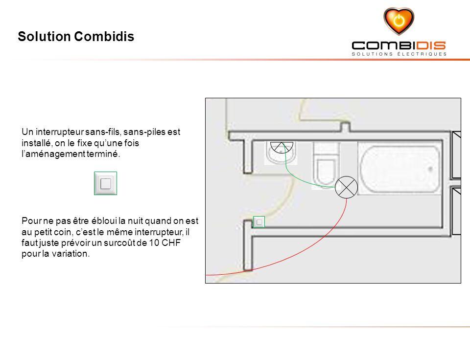Un interrupteur sans-fils, sans-piles est installé, on le fixe qu'une fois l'aménagement terminé.