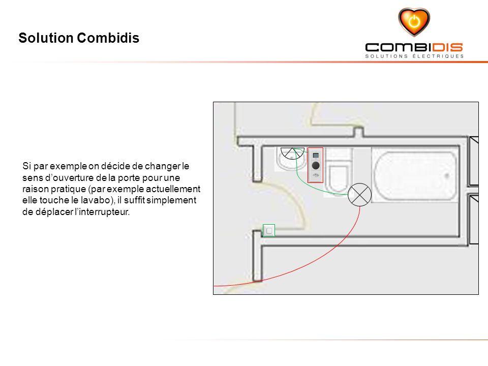Si par exemple on décide de changer le sens d'ouverture de la porte pour une raison pratique (par exemple actuellement elle touche le lavabo), il suffit simplement de déplacer l'interrupteur.
