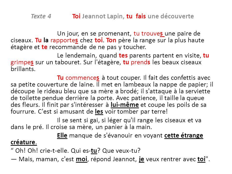 Texte 4 Toi Jeannot Lapin, tu fais une découverte