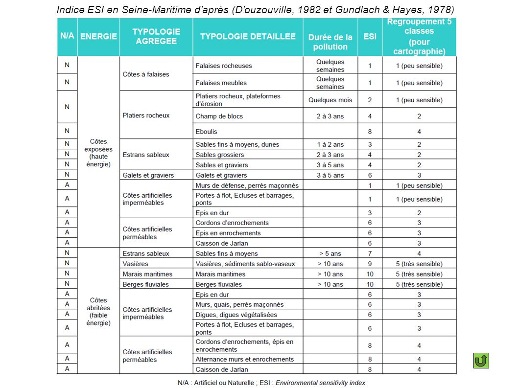 Indice ESI en Seine-Maritime d'après (D'ouzouville, 1982 et Gundlach & Hayes, 1978)