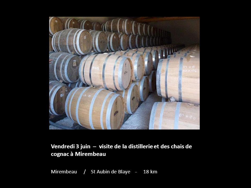 Vendredi 3 juin – visite de la distillerie et des chais de cognac à Mirembeau