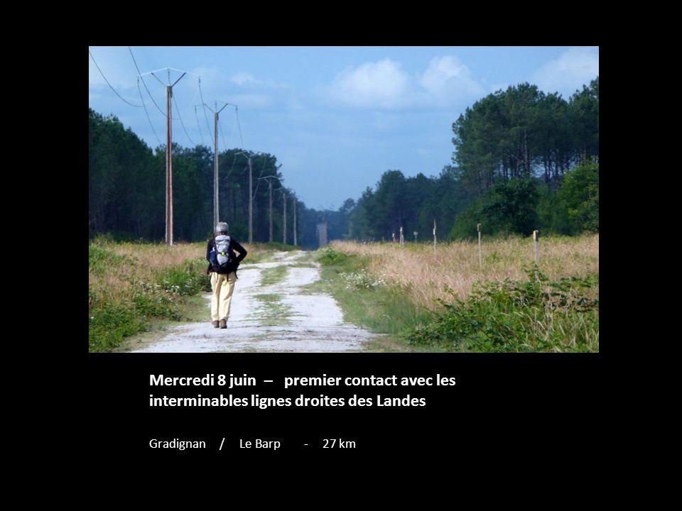 Mercredi 8 juin – premier contact avec les interminables lignes droites des Landes