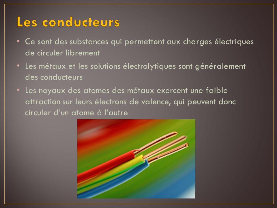 Les conducteurs Ce sont des substances qui permettent aux charges électriques de circuler librement.