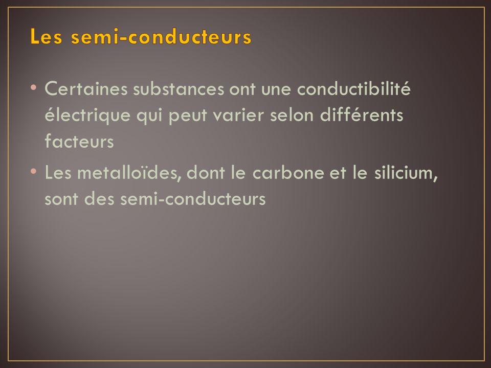 Les semi-conducteurs Certaines substances ont une conductibilité électrique qui peut varier selon différents facteurs.