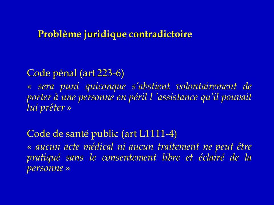Problème juridique contradictoire